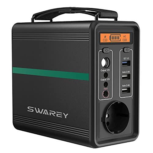 SWAREY Generador Solar Portátil 166Wh Salidas AC/DC/USB/Tipo-C Estación de Energía con Batería...