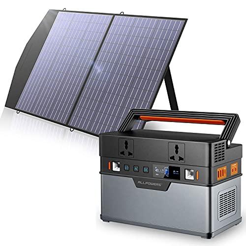 Allpowers Generador portátil de 606 Wh / 164000 mAh (panel solar opcional) con panel solar plegable...