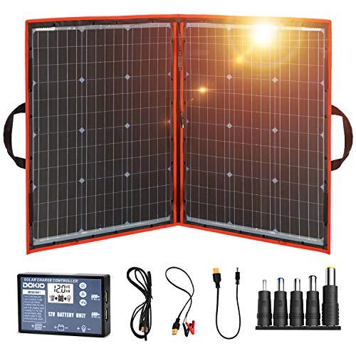 DOKIO Panel Solar Plegable 100w monocristalino para cargar 12v Batería, PORTáTIL,...